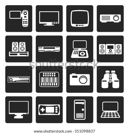 Black Hi-tech equipment icons - vector icon set 2
