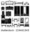 Black icons of furniture. vector - stock vector