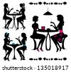Black isolated silhouettes of girls in cafe. Vector - stock vector