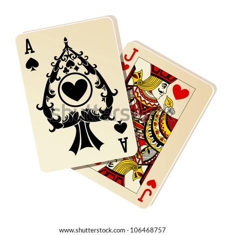 Black Jack. Two cards on white background.