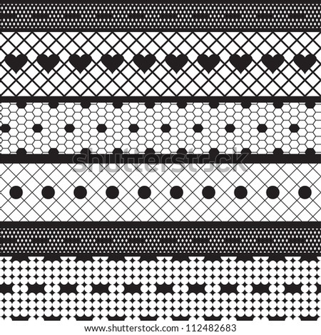 Black lace ribbons vector fabric seamless  pattern with hearts