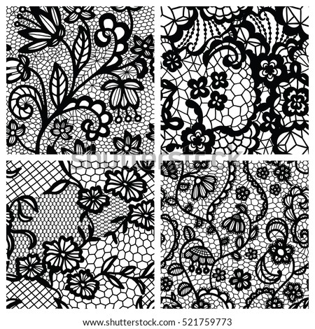 Black lace seamless patterns with flowers on white background