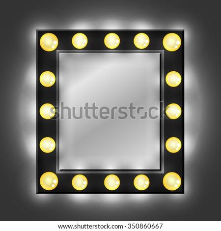 Black Mirror Dressing Room Light Bulbs Stock Vector 350860667 ...:Black mirror. Dressing room. Light bulbs. Illumination. Vector.,Lighting