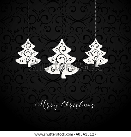 Black Ornament Background with Christmas Decoration