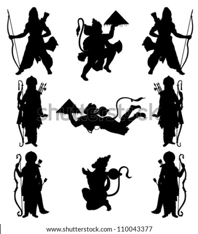 black outline of Indian gods on a white background