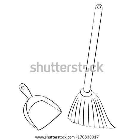 Black Outline Vector Broom Dustpan On Stock Vector ... Broom Clipart Black And White