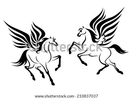 Black pegasus horses with wings for religious design