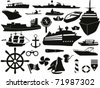 black sailing objects icon set - stock vector