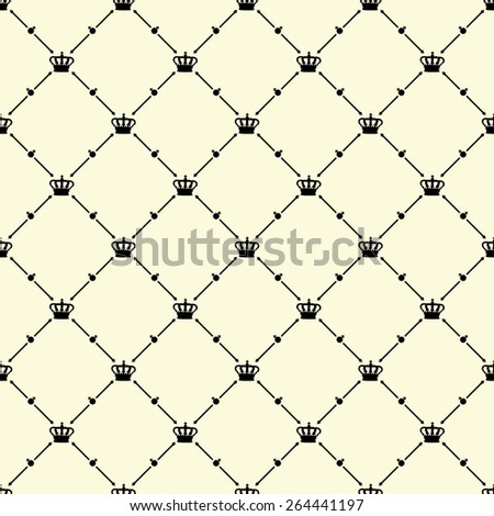 Black seamless pattern with king crown symbol on beige, 10eps.
