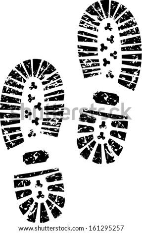 Black shoe print - stock vector