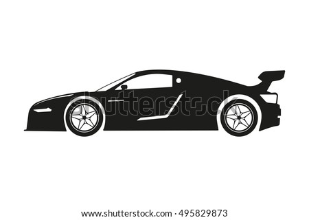 Race Sport Car Silhouettesupercar Tuning Coupe Stock Vector