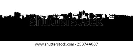 Black silhouette of city scenery afar with black space for text - vector