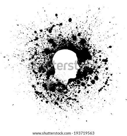 Black silhouette of man head with white ink blots. eps10