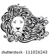 black silhouette of stylized lion head with a beautiful mane - stock vector