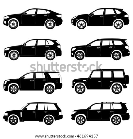 Silhouette Suv Car Set Stock Vector Shutterstock