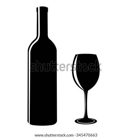 black silhouettes of bottles and glasses on a white background