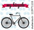 Black vector bicycle on seamless pattern with red ribbon - stock vector
