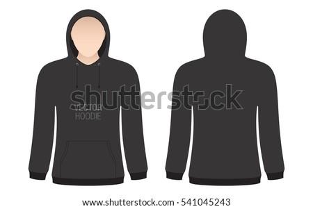 Vector Black Hoodie Templates Set Mens Stock Vector 533663779