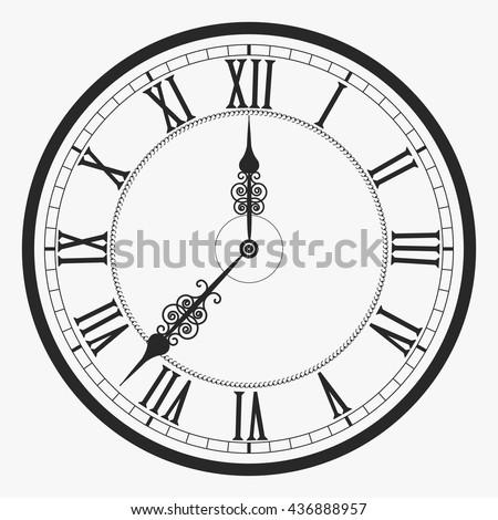 Old Black White Clock Face Roman Stock Vector 196659251