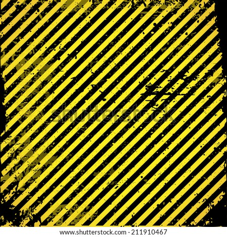 Black-yellow striped background with warning, grungy construction pattern vector