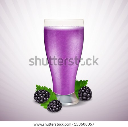 Blackberry smoothie with berries and leaves