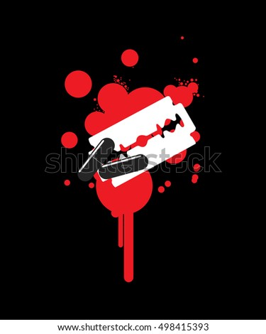 Blade and Pills Isolated on Blood Splash