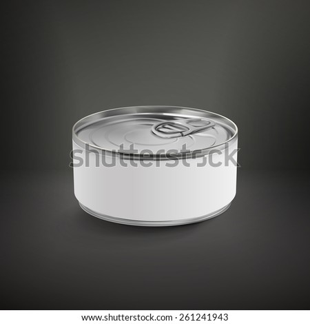 blank aluminum can isolated over black background