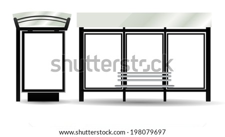 Blank Billboards on Bus Stop for your advertising, vector illustration