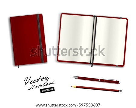 Blank Purple Open Closed Copybook Template Stock Vector 597562400