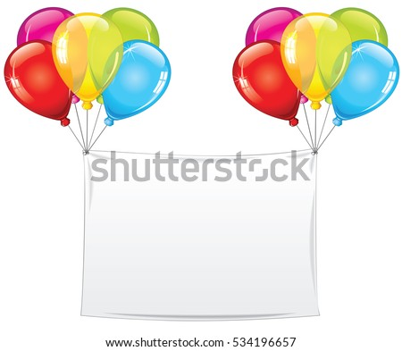 Blank Holiday Birthday Banner with Balloons. Isolated Vector