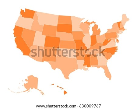 Map United States America Usa Four Stock Vector - Map of the united state of america