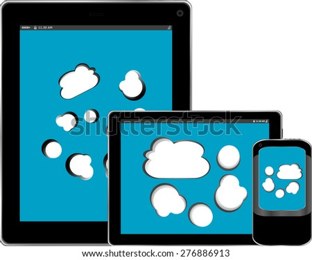 Blank mobile smart phone and digital tablet pc with cloud on the screen vector isolated on white