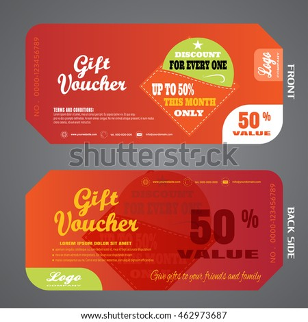 Blank Back School Gift Voucher Vector Stock Vector 466261547