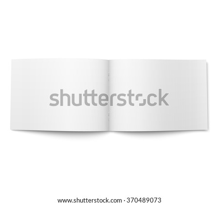 Blank open magazine template on white background. Wide format. Ready for your design. Vector illustration.