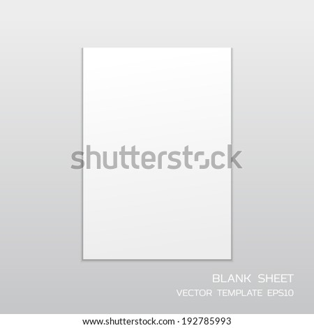 White Paper Template Mockup Drop Shadow Stock Vector