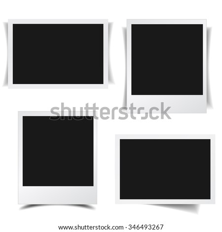 Blank photo frames collection with different shadow effects and empty space for your photograph and picture. EPS 10 vector illustration isolated on white background.