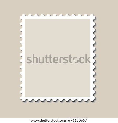 Template Empty Postage Stamp On Brown Stock Illustration 340737338