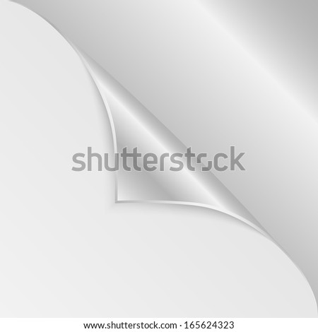 blank sheet of paper with the curved  silver corner.clean sheet for posting information.vector