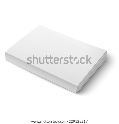 Blank softcover book or magazine template on white background. Vector illustration. EPS10.