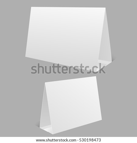 Blank Table Tent isolated on grey background  Vector illustration eps 10