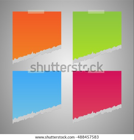 Colorful Ripped Paper Note Day Background Stock Vector