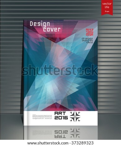 Blank vertical hardcover book template with red bookmark standing on gray surface. Vector illustration.