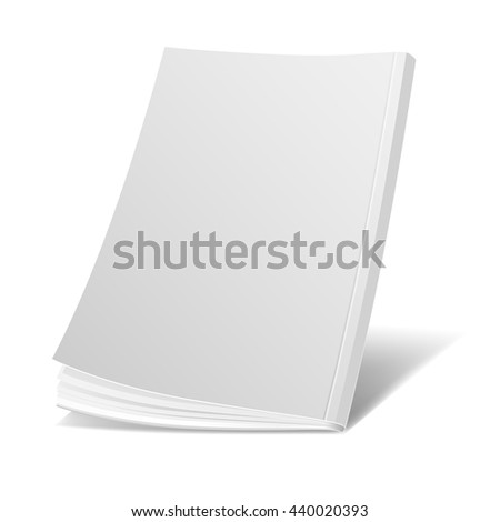 Blank white magazine cover, book, booklet, brochure vector template. Realistic mockup.