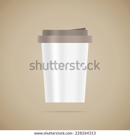 Blank white vector detailed coffee cup template on brown background