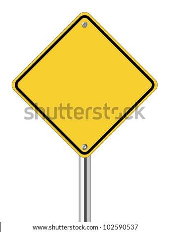 Blank yellow road sign on white background