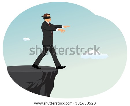 Blindfolded businessman is searching a path near a deep precipice. Business risk and bankruptcy.