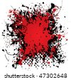 Blood red ink vector splat with black paint and grunge effect - stock vector