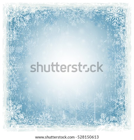 blue abstract background with shiny stars, snow flakes and white grunge frame