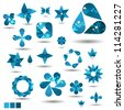 Blue abstract vector symbol set with pattern - stock photo