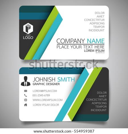 Green Blue Modern Creative Business Card Stock Vector